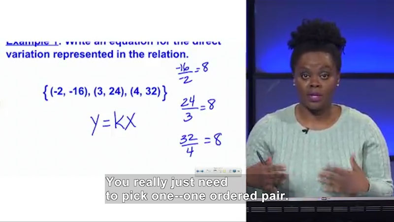 Still image from: Welcome to Algebra I: Representing a Direct Variation Algebraically and Graphically