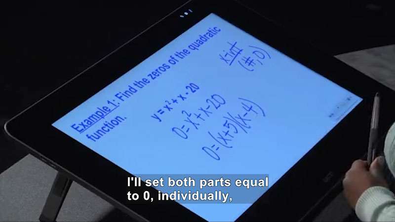 Still image from: Welcome to Algebra I: Finding Zeros of Quadratic Functions