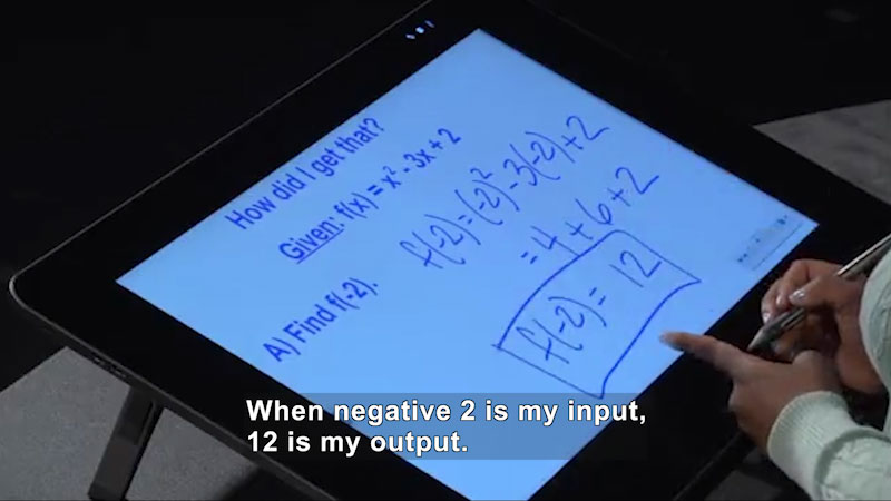Still image from: Welcome to Algebra I: Finding Values for Elements in the Domain of Quadratic Functions