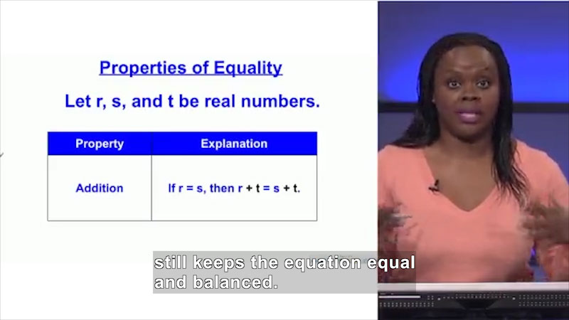 Still image from: Welcome to Algebra I: Properties of Equality