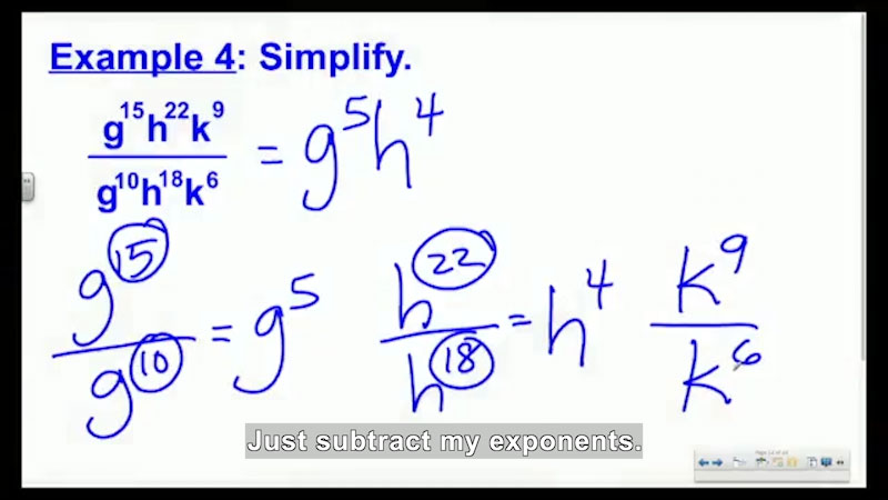 Still image from: Welcome to Algebra I: Quotient of Powers