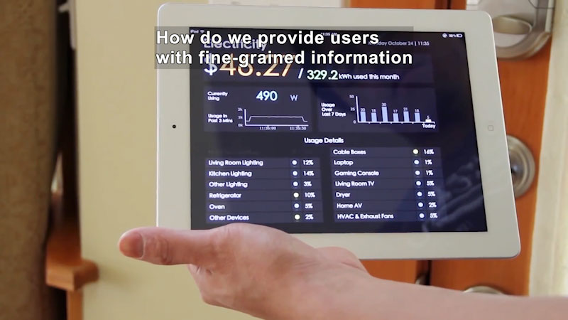 Screen displaying power consumption for individual appliances, over a 7-day period, for the total month, and other metrics. Caption: How do we provide users with fine-grained information