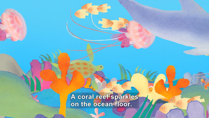 Illustration of a coral reef with other sea life swimming above. Caption: A coral reef sparkles on the ocean floor.