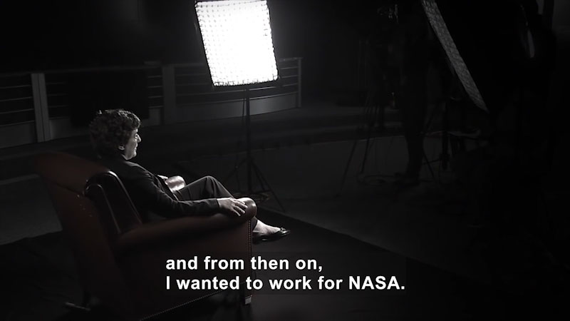 Woman speaking. Caption: and from then on, I wanted to work for NASA.