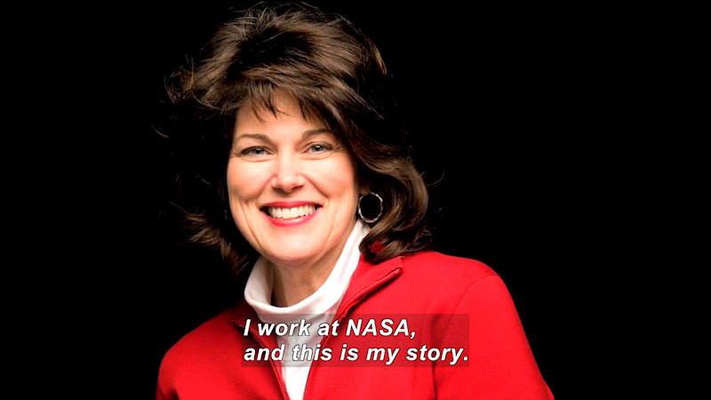 Woman speaking. Caption: I work at NASA, and this is my story.
