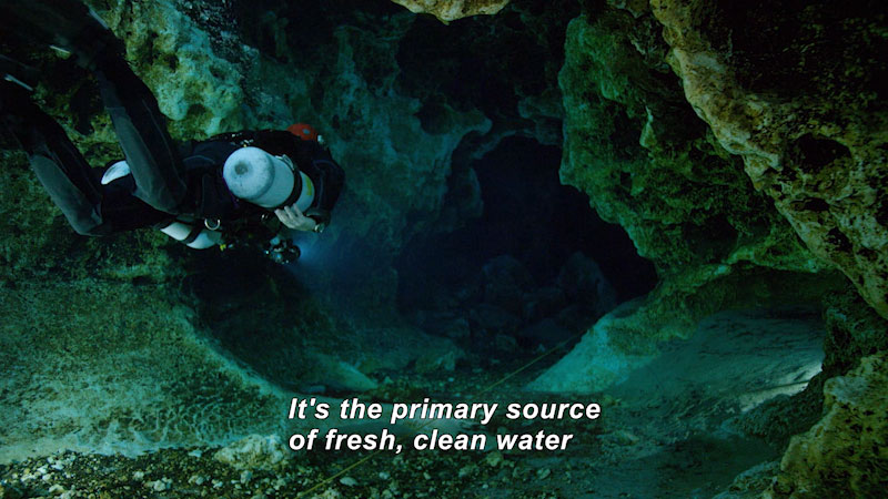 A diver carries two oxygen cylinders and dives deep into the Floridian aqufier. Caption: It's the primary source of fresh, clean water.