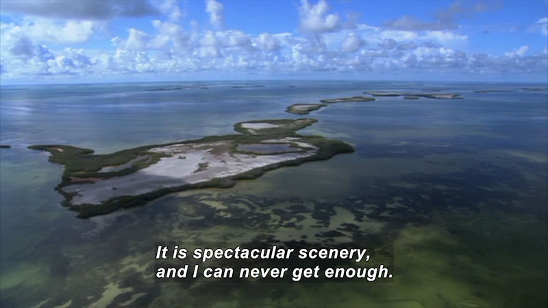 An aerial view of the archipelago in Florida. Caption: It is spectacular scenery, and I can never get enough.