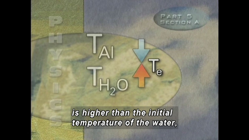 An illustration depicts a blue down arrow and a red up arrow representing T A L and T H 2 O in contact with each other. The junction of the two arrows is labeled T e. On screen text, Physics, Part 5, Section A. Caption: is higher than the initial temperature of the water.