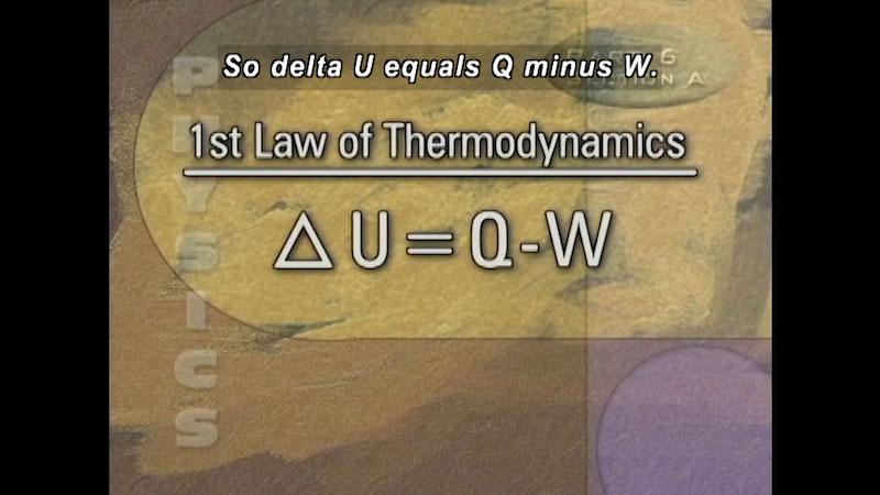 First law of Thermodynamics. Caption: So delta U equals Q minus W.
