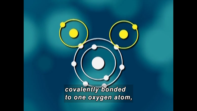 One central atom with two smaller atoms each attached to an electron on the outer ring of the central atom. Caption: covalently bonded to one oxygen atom,