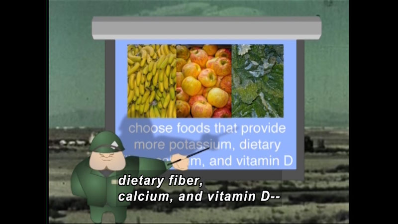 Illustration of a military person pointing to a chart with pictures of bananas, apples, and leafy greens. Caption: Choose foods that provide more potassium, dietary fiber, calcium, and vitamin D--
