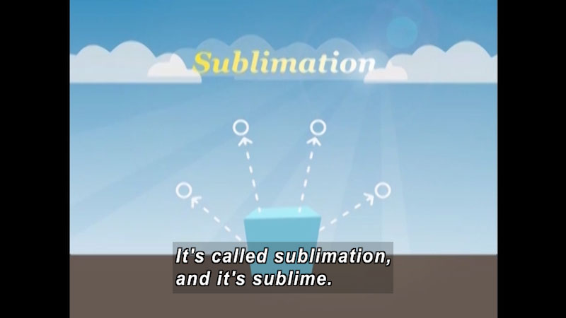 Cube with round objects moving away from it. Sublimation. Caption: It's called sublimation and it's sublime.