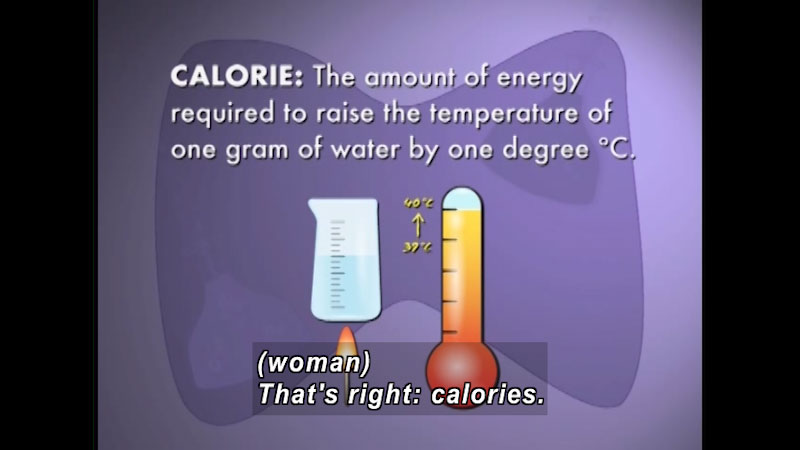 Calorie: The amount of energy required to raise the temperature of one gram of water by one-degree C. Caption: (woman) That's right: calories.