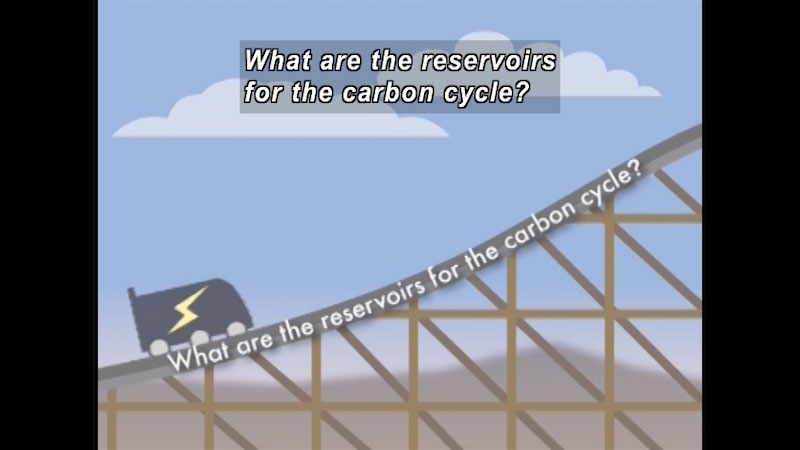 Cart ascending roller coaster track. Caption: What are the reservoirs for the carbon cycle?