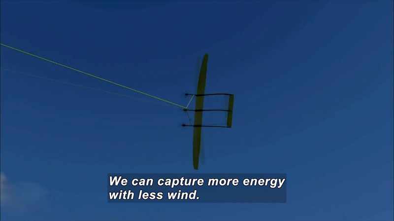 Object flying in the sky attached to a tether. Caption: We can capture more energy with less wind.