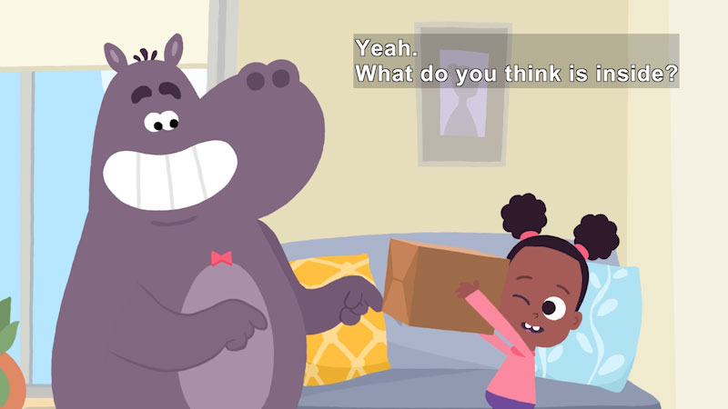 Cartoon of a girl and another cartoon character holding a cardboard box. Caption: Yeah. What do you think is inside?