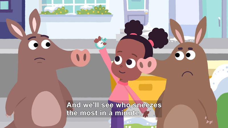 Cartoon of a girl holding a stopwatch between two aardvarks. Caption: And we'll see who sneezes the most in a minute.