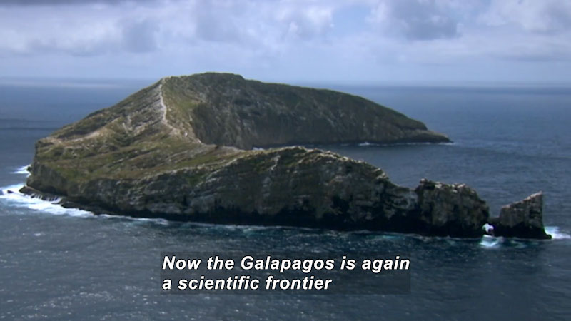 """Curving """"C"""" shaped island with sharply elevated sides. Caption: Now the Galapagos is again a scientific frontier"""