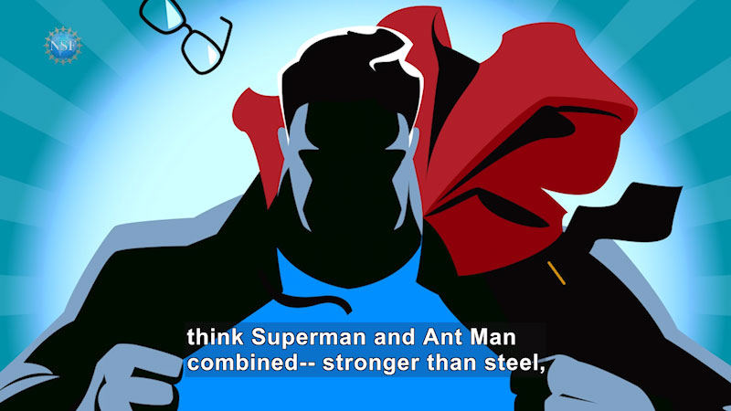 illustration of Superman running. His spectacle is flying in the air. Caption: think superman and ant man combined, stronger than steel,