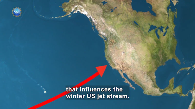 A satellite view of North America. A red arrow from the Pacific Ocean points to the coasts of Mexico. Caption: that influences the winter US jet stream.