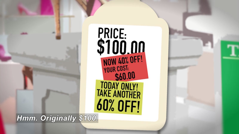 Still image from: Math Mess: The Really Big Shoe Sale
