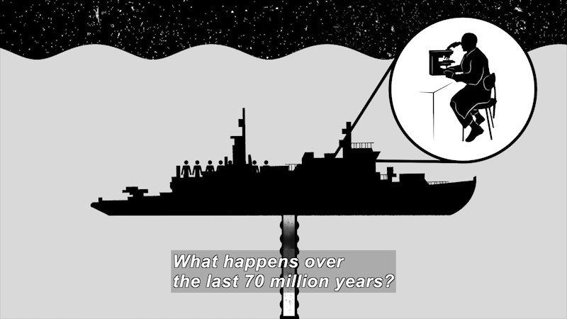 A large ship is in the water piping fossil fuels. An expanded view from the ship depicts a man researching in a lab setup. Caption: What happens over the last 70 million years.