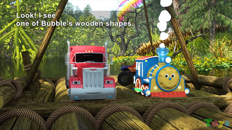 Still image from: Max and Friends Use Wooden Shapes to Help Bubble the Robot Cross the Swamp