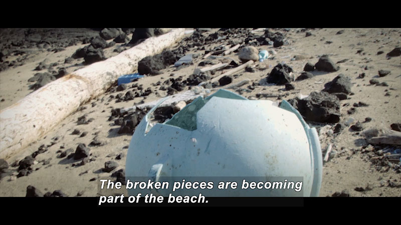 A brokenplastic container is found on the shores. Caption: Broken pieces are becoming part of the beach.