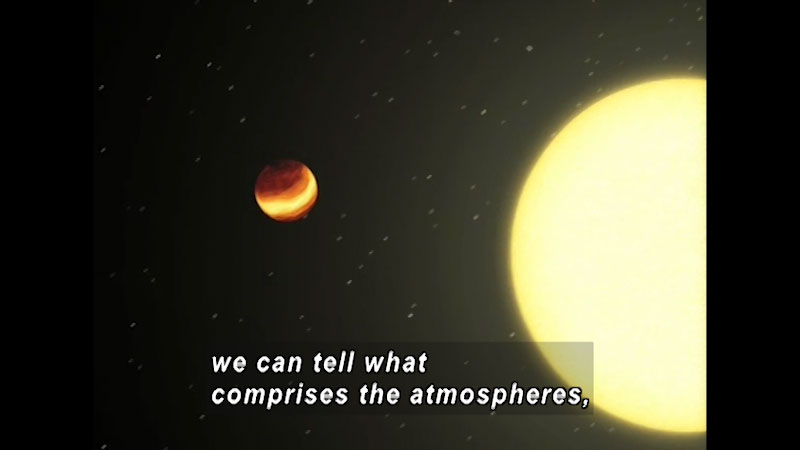 Sun and a red planet in outer space. Caption: we can tell what comprises the atmospheres.