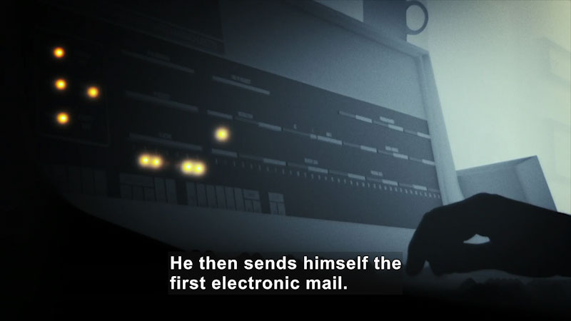 An electronic machine is being operated. Caption: He then sends himself the first electronic mail.