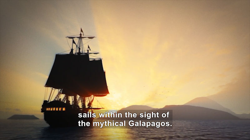 A ship sailing through the sea. Caption: sails within the sight of the mythical Galapagos.