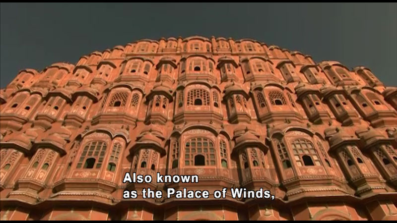 Hawa Mahal. Caption: Also known as the Palace of Winds,