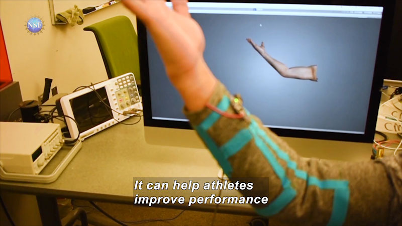 Human hand movement being replicated in a screen. Caption: It can help athletes improve performance.