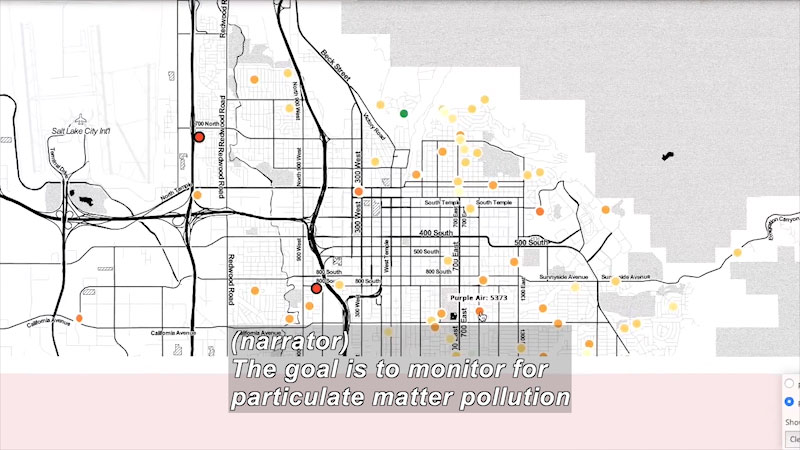 A map with many locations highlighted. Caption: (narrator) The goal is to monitor for particulate matter pollution.