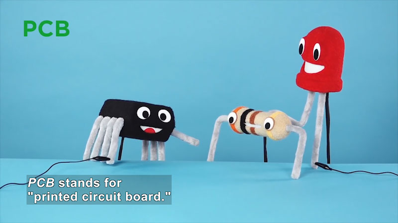 An illustration depicts a transistor, resistor, and an L E D. Caption: P C B stands for, printed circuit board.