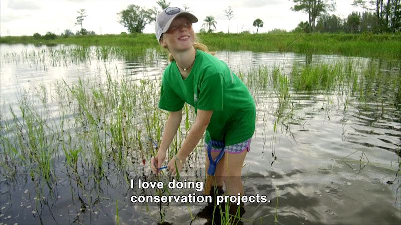 A girl working in a swamp. Caption: I love doing conservation projects.