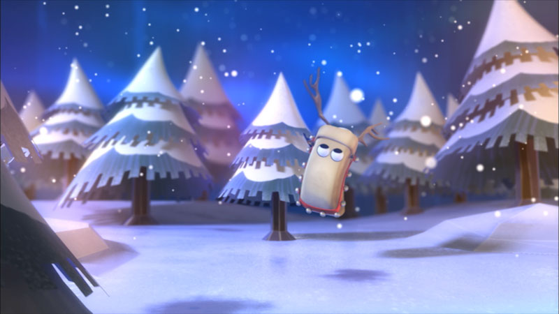 An illustration of a reindeer in a forest covered in snow.