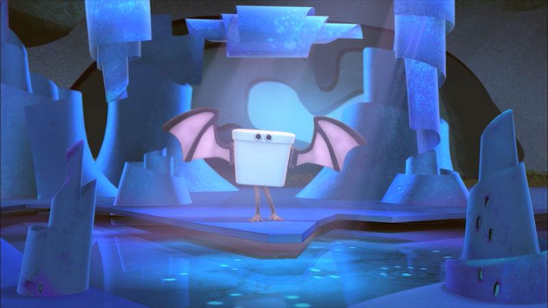 An illustration of a bat inside a cave.