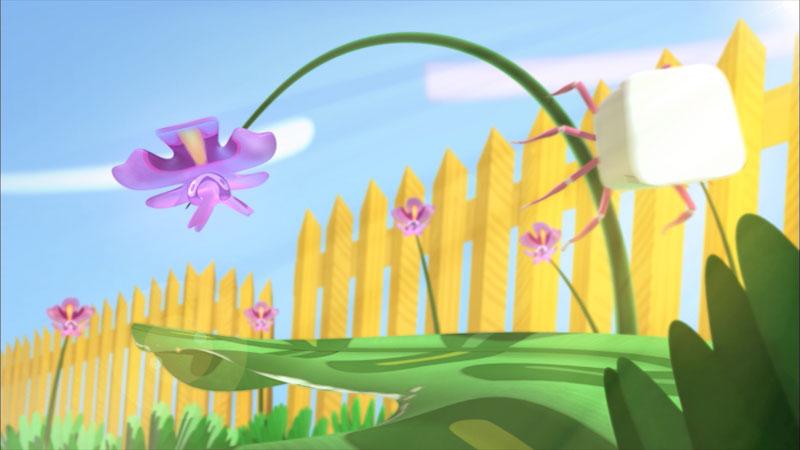 An illustration of an arachnid climbing on a flower.