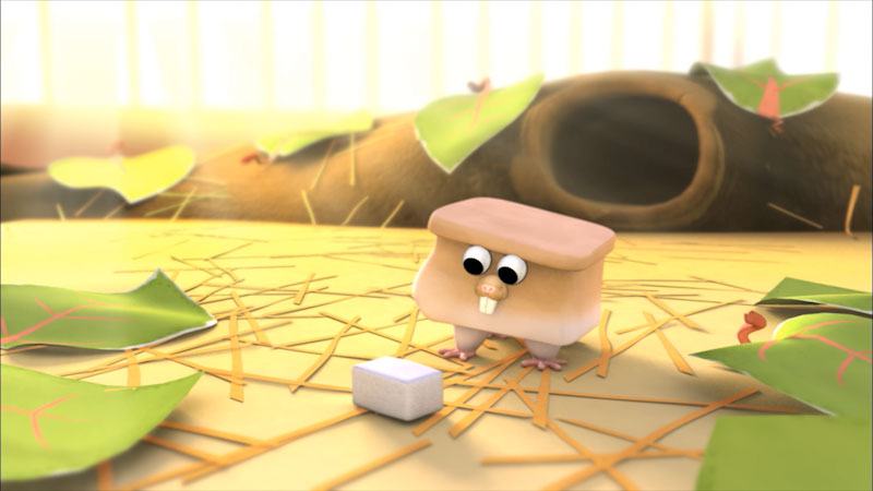 An illustration of an hamster looking at a box.