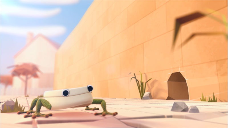 An illustration of a lizard standing near a wall.