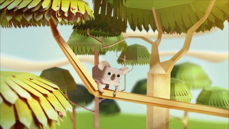 An illustration of a koala on a tree.