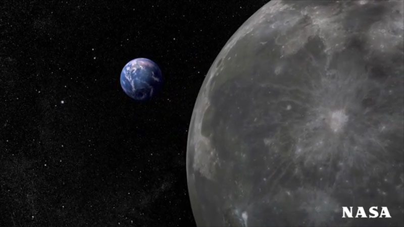 An illustration of Moon and Earth.
