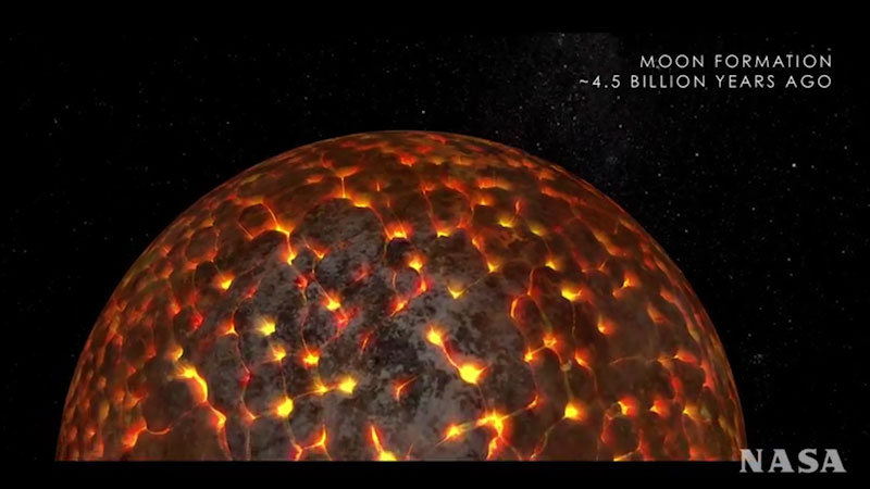 An illustration depicts the formation of the Moon approximately 4.5 billion years ago.