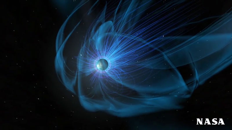 An illustration of magnetic field surrounding a planet.