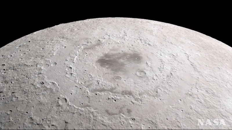 A photo of the surface of the Moon.