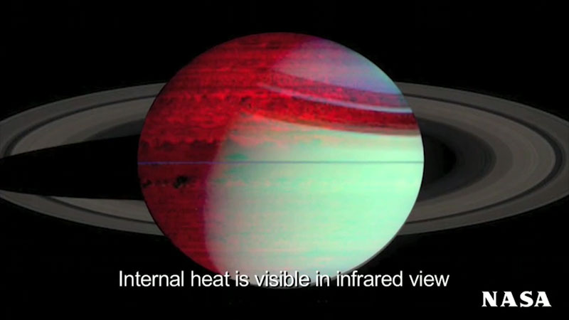 An illustration of Saturn. Caption: Internal heat is visible in infrared view.