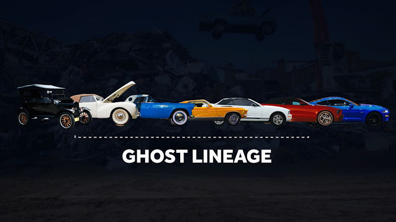 A diagram titled, ghost lineage, shows cars of different ages.