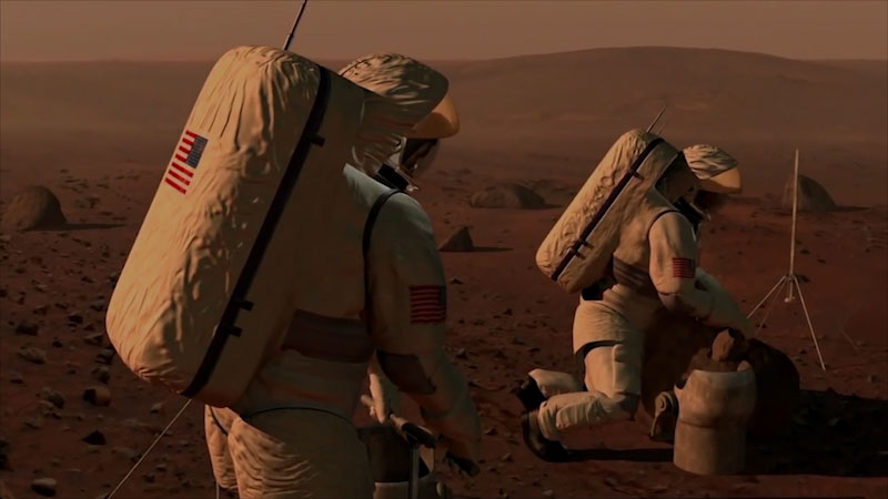 An illustration of two astronauts in a foreign planet surface.