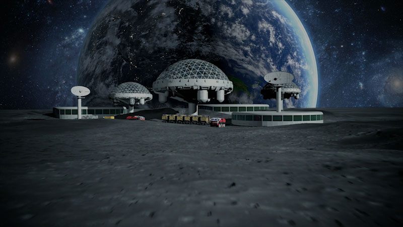 An illustration of a space colony.